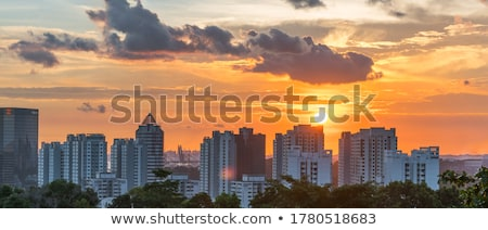 Singapour · coucher · du · soleil · panorama · marina · sable · Resort - photo stock © joyr