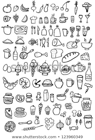 Freehand icons - drink and food Stock photo © abdulsatarid