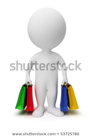 3d small people   carry shopping bags stock photo © anatolym