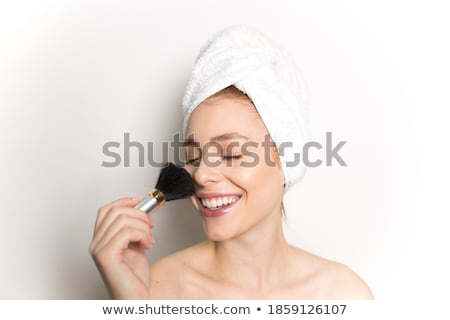 Beautiful redhead young woman with fresh skin of face in bathroo Stock photo © Massonforstock