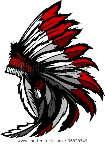 Stockfoto: American Native Indian Feather Headress Mascot Vector Graphic