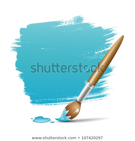 Stock photo: pencil and brush with blue paint on paper background