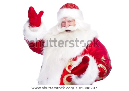 Stok fotoğraf: Santa Claus Pointing His Hand Isolated Over White