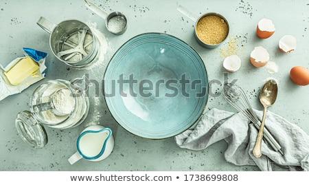 Tojások liszt tej fa asztal étel fa Stock fotó © Melpomene