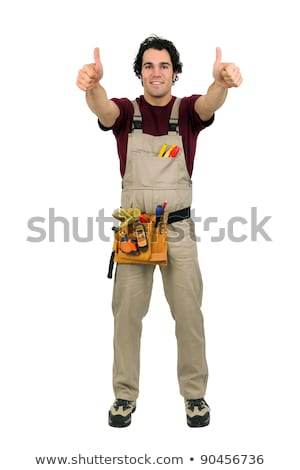Stock photo: Carpenter giving two thumbs-up