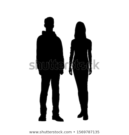 vector silhouette of young man and woman stock photo © freesoulproduction