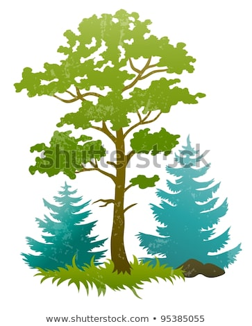 grunge silhouettes of forest tree and firtrees Stock photo © LoopAll