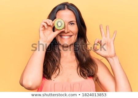 kiwi · vruchten · vrouw · leuk · gezonde · grappig - stockfoto © photography33