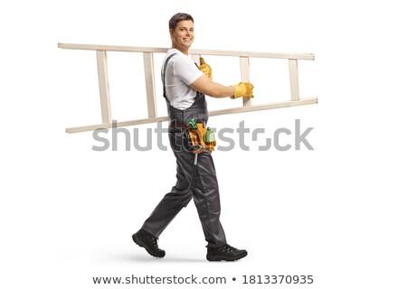 férfi · hordoz · létra · boldog · fut · izolált - stock fotó © smithore