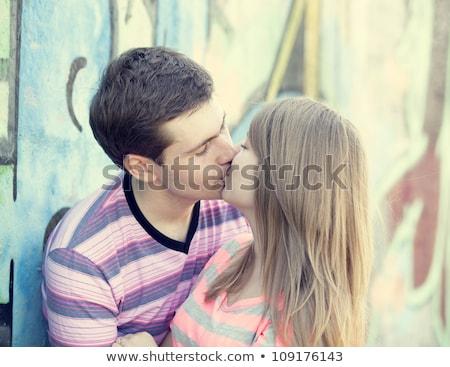 целоваться · улице · любви · человека · пару - Сток-фото © massonforstock