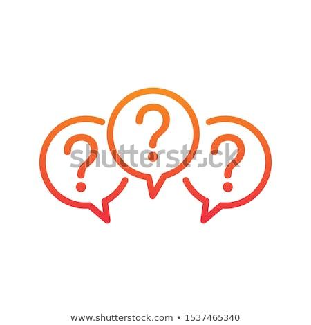 Foto stock: Balão · de · fala · ponto · de · interrogação · ícones · abstrato · educação · comunicação