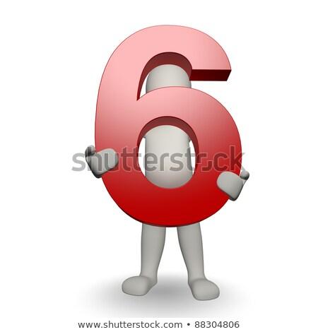 Karakter aantal zes 3d render Stockfoto © Giashpee