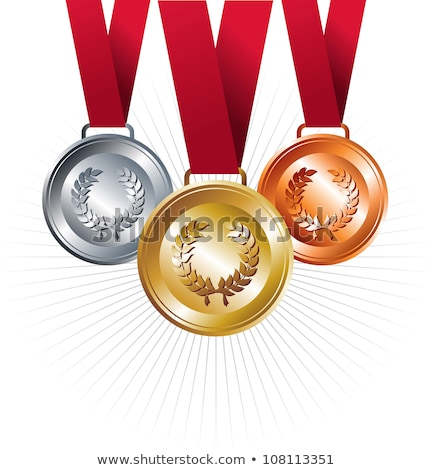 gold medal with ribbon vector file layered for easy manipulatio stock photo © cienpies