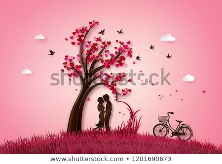 Valentin nap fa piros rózsaszín szívek illusztráció Stock fotó © davidgn
