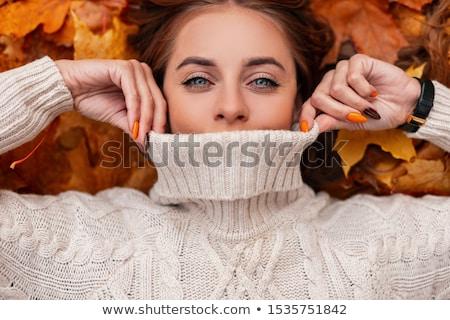 retrato · feliz · mujer · sonriente · ojos · azules · hojas · de · otoño · aire · libre - foto stock © Victoria_Andreas