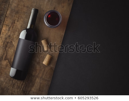 Borosüveg címke fehér levél étterem ital Stock fotó © broker