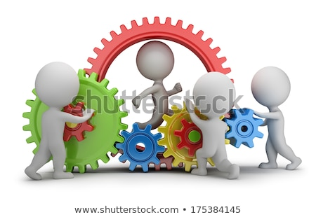 3d small people   businessman in the gear wheel stock photo © anatolym