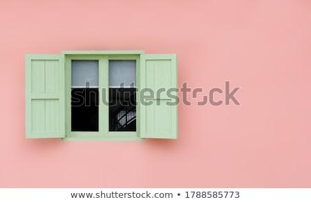 Ablak fából készült zsalu kék fehér fal Stock fotó © deyangeorgiev