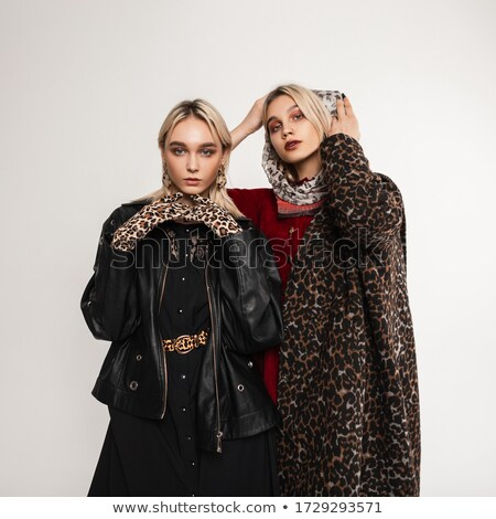 Stock photo: young lady in leopard coat