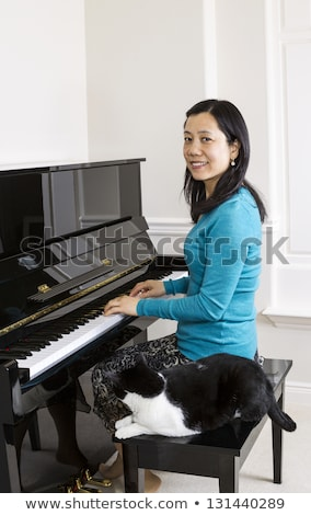 mature woman playing piano with her family cat by her side stock photo © tab62