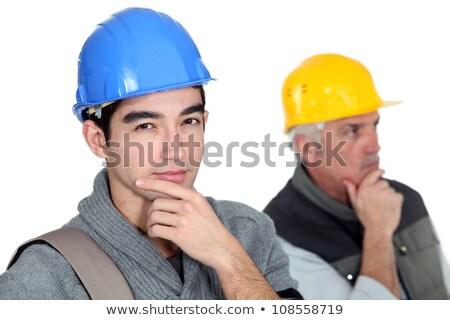 Zamyślony budowniczy młodych stażysta budowy pracy Zdjęcia stock © photography33