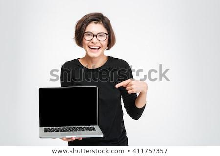 Foto stock: Ordenador · portátil · mujer · Screen · sonriendo · feliz