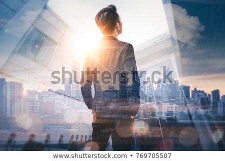 út · előre · útjelző · tábla · égbolt · kék · felhős - stock fotó © leeser