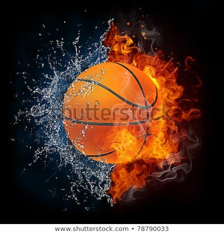kosárlabda · labda · tűz · lángok · csobbanás · víz - stock fotó © Kesu