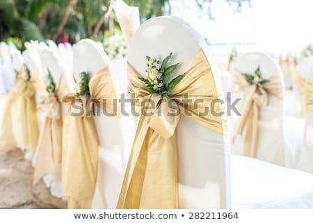 Esküvő szék székek esküvői fogadás vörös szalag íjak Stock fotó © KMWPhotography