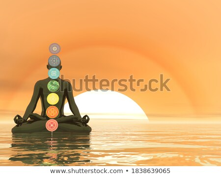 Foto stock: Sunsets · 3d · render · sete · pôr · do · sol · chakra · cores