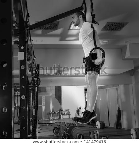 Gyűrű mártás crossfit testmozgás férfi sportok Stock fotó © dacasdo
