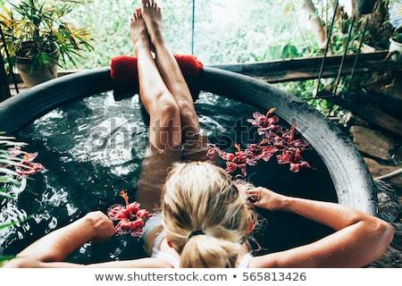 Foto stock: Banho · imagem · sereno · mulher · agradável · espuma