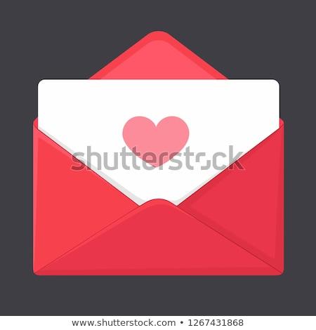 Miłości mail kopercie serca szminki wydruku Zdjęcia stock © Aiel