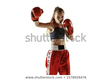 Jonge blond vrouwelijke bokser handschoenen leder Stockfoto © konradbak