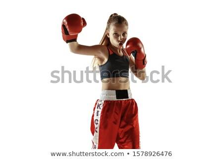Giovani femminile boxer guanti pelle Foto d'archivio © konradbak