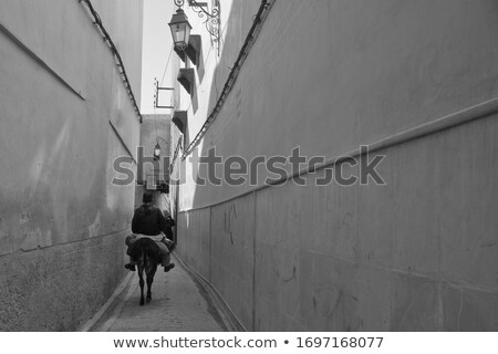 extremely narrow street white walls blue sky stock photo © lunamarina