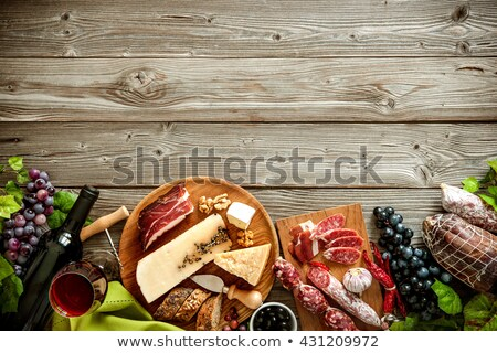 ワイングラス · 肉 · ワイン · 古い · キャンバス · 食品 - ストックフォト © m-studio