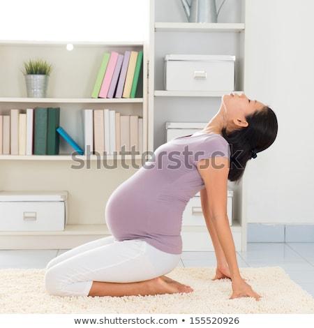 Foto stock: Asia · mujer · embarazada · yoga · saludable
