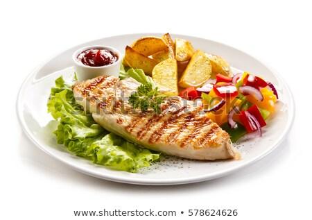 Poitrine de poulet frites françaises poulet salade manger de pomme de terre Photo stock © M-studio