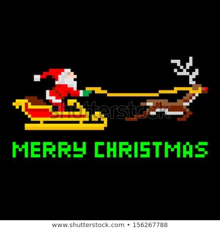 Пиксели искусства Рождества ретро видеоигра Сток-фото © Krisdog