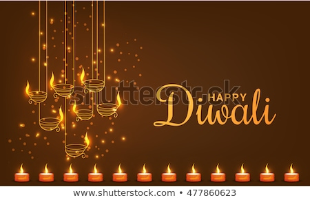 beautiful creative shiny diwali lamp colorful background illustr stock photo © bharat