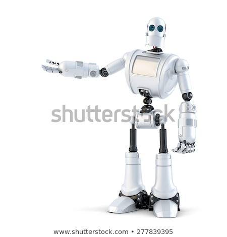 Android robot bemutat láthatatlan tárgy izolált Stock fotó © Kirill_M
