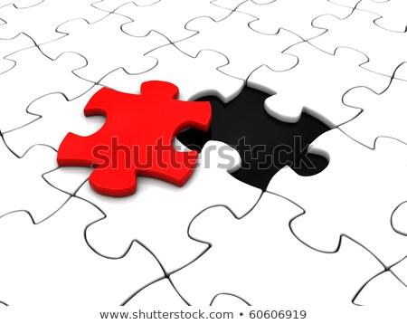 customize concept on red puzzle stock photo © tashatuvango