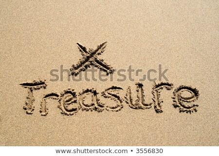 Szó kincs írott homok folt tengerpart Stock fotó © latent