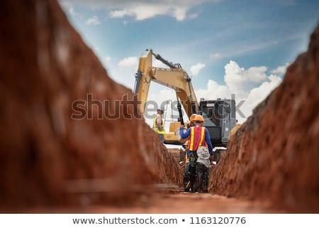 Foto stock: Escavadeira · trabalhando · areia · pedra · mineração · negócio