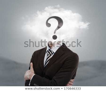 Young businessman with head in the clouds and question mark stock photo © hasloo