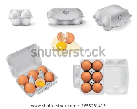 Zes vers eieren vak houten Stockfoto © raphotos
