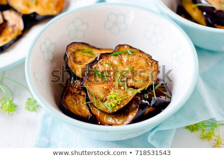 Chinese Food: Fried eggplant slices Stock photo © bbbar