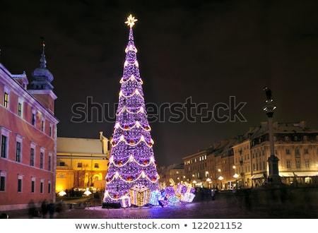рождественская елка Варшава ночь замок квадратный Сток-фото © rognar