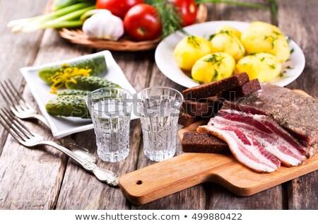 Kenyér étel vodka üveg adag alkohol Stock fotó © ia_64